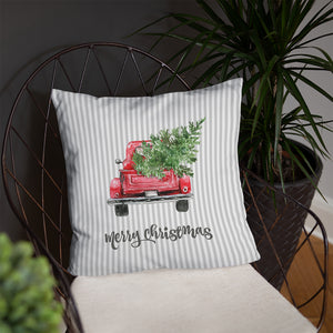 Gray Christmas Throw Pillow, Red Truck with Christmas Trees