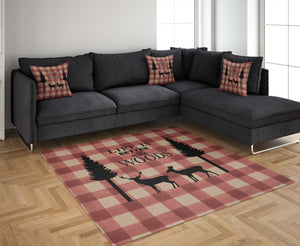 Red Plaid Woodland Rug