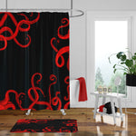 Folk N Funky Bathroom Decor | Red & Black Octopus, Nautical Themed Shower Curtain