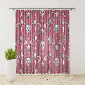 Red Gothic Skull Window Curtains