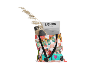 "Retro Truck Canvas Tote Bag 18"" Vintage Theme Oversized Shopping Bag"