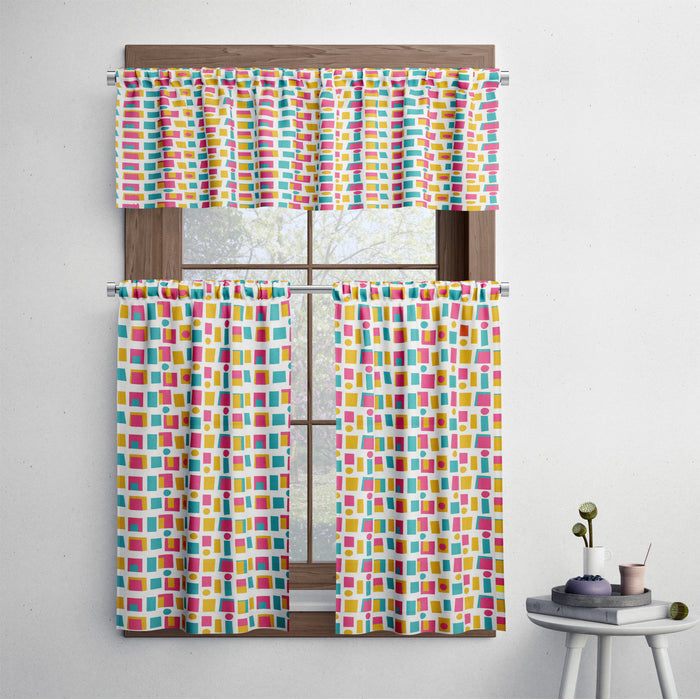 Mid Century Modern Retro Blocks Pattern Cafe Style Curtains