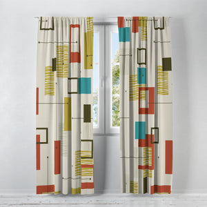 "Retro Geometric Mid Century Design Blackout Curtains 100"" x 84"" Window Treatments"