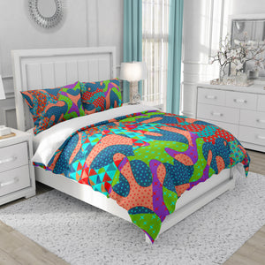 Electic Heart Bedding Set, Boho Retro