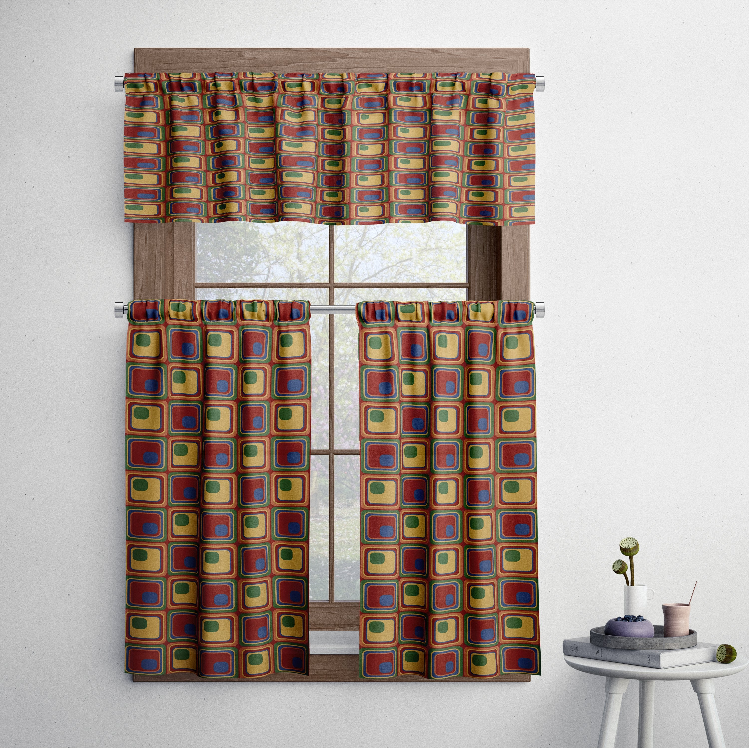 Mid Century Modern Retro Squares Cafe Style Curtains