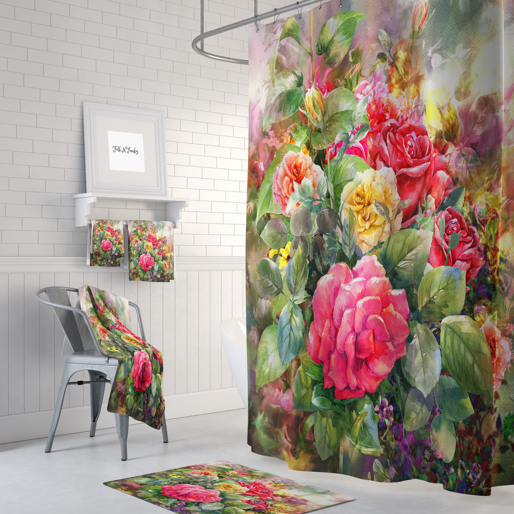 Watercolor Rose Floral Shower Curtain Bathroom Decor