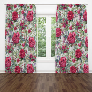 Roses Roses Floral Window Curtains