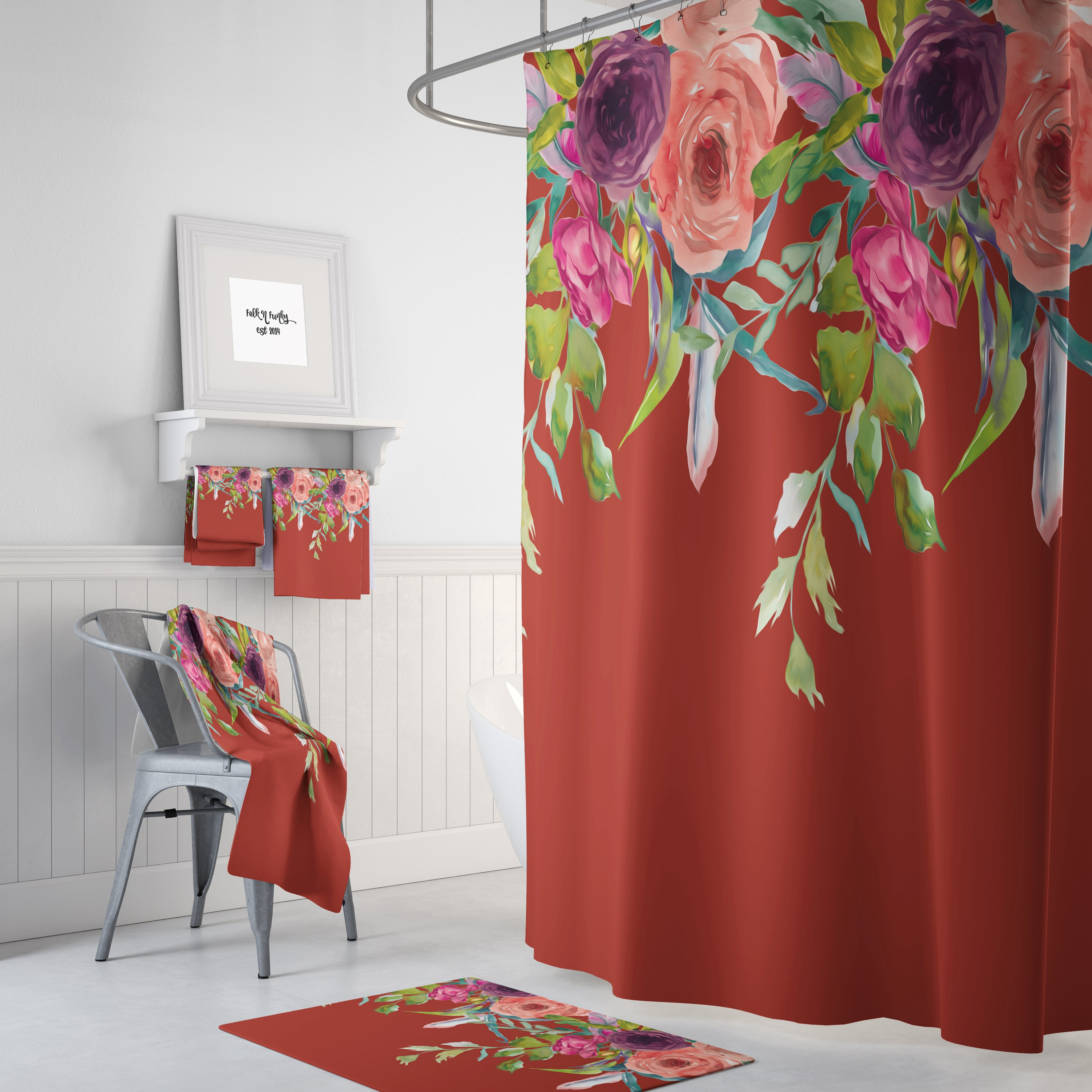 Gypsy Floral Shower Curtain, Optional Bath Mat, Towels