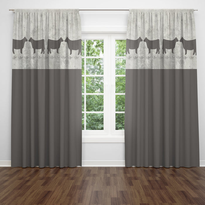 Farmhouse Window Treatments, Primitive Cows , Brown, Lined Curtains, Window Valance