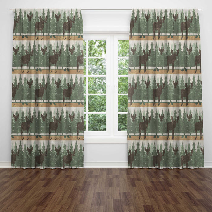 Rustic Moose Window Curtains, Rustic Window Treatments