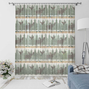 Rustic Moose Woodland Window Curtains