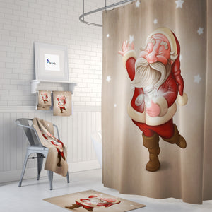 Santa Shower Curtain Christmas Bathroom Decor
