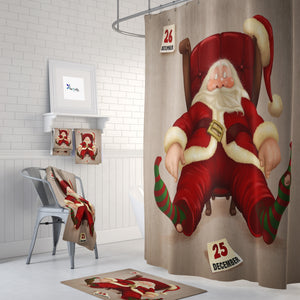 Sleepy Santa Shower Curtain Christmas Bathroom Decor