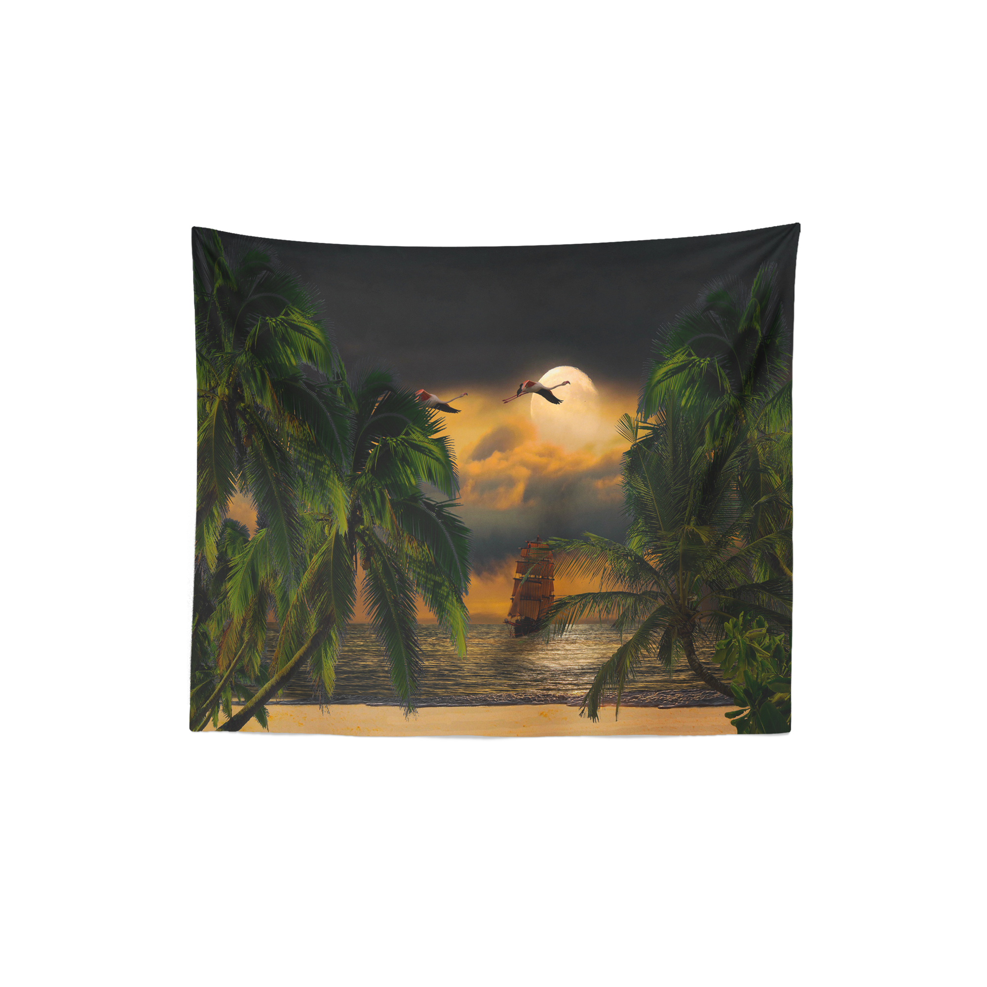 Flying Flamingo Tropical Wall Tapestry