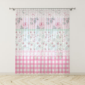 Shabby Cottage Chic Window Curtains, Pink Checks and Floral