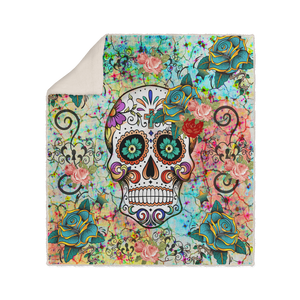 Teal, Orange and Blue Abstract Sugar Skull Fleece Sherpa Blanket
