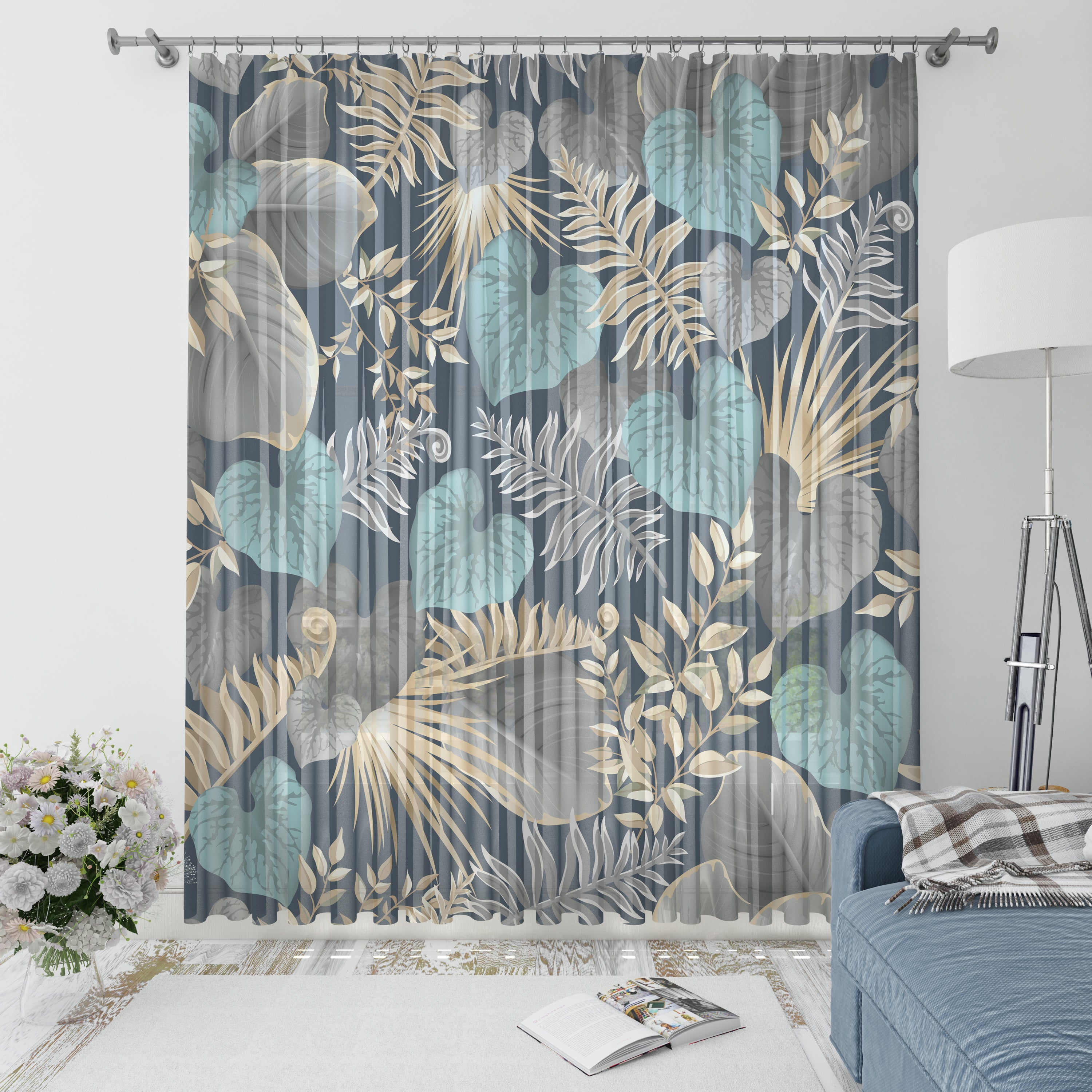 Silver Palms Window Curtains