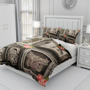 Rustic Family Portrait Gothic Skull Bedding