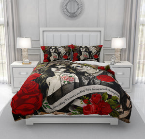 To Love Is Red Roses Forevermore Skeletons, Skull Couple Bedding
