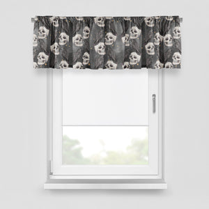 Gothic Window Curtains Gray Skulls and Crows