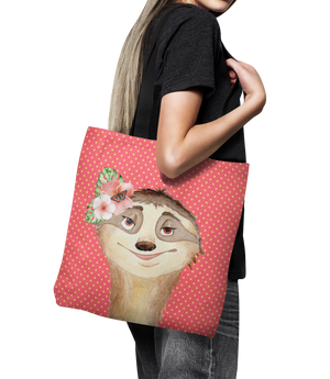 "Polka Dot Sloth Canvas Tote Bag 18"" Oversized Shopping Art  Bag"