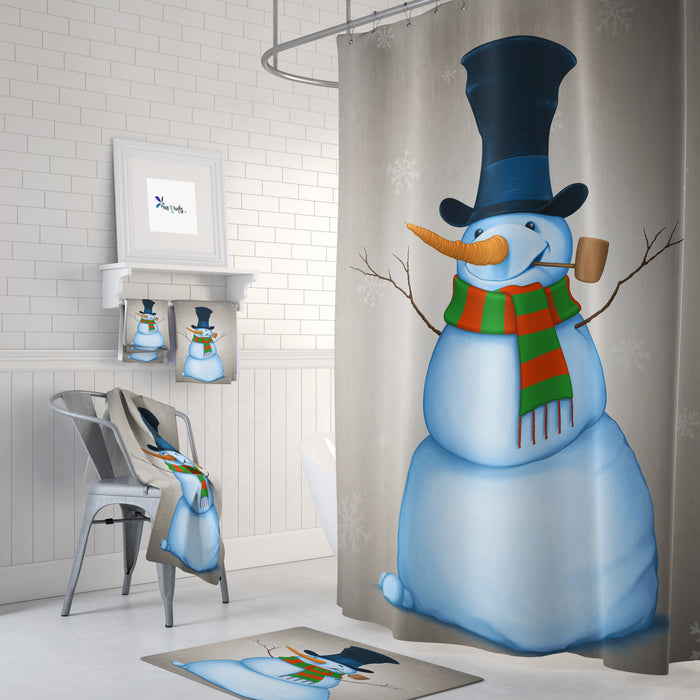 Rustic Snowman Shower Curtain Christmas Bathroom Decor