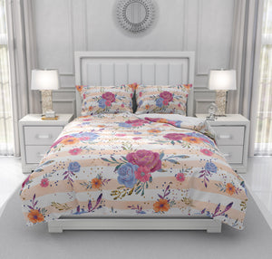 Sparkled Rose Boho Floral Bedding Set