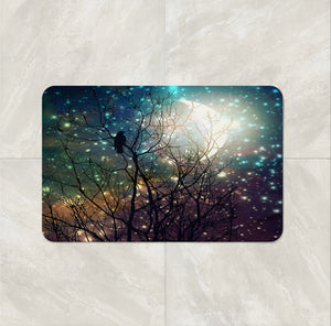 Sparkling Sky Crow Dreams Shower Curtain by Folk N Funky Bath Mat