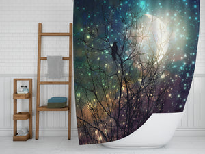 Sparkling Sky Crow Dreams Shower Curtain by Folk N Funky