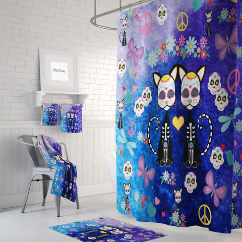 The Skeleton Cats Sugar Skull Shower Curtain by Folk N Funky