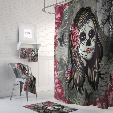 La Rosa Sugar Forevermore Shower Curtain by Folk N Funky
