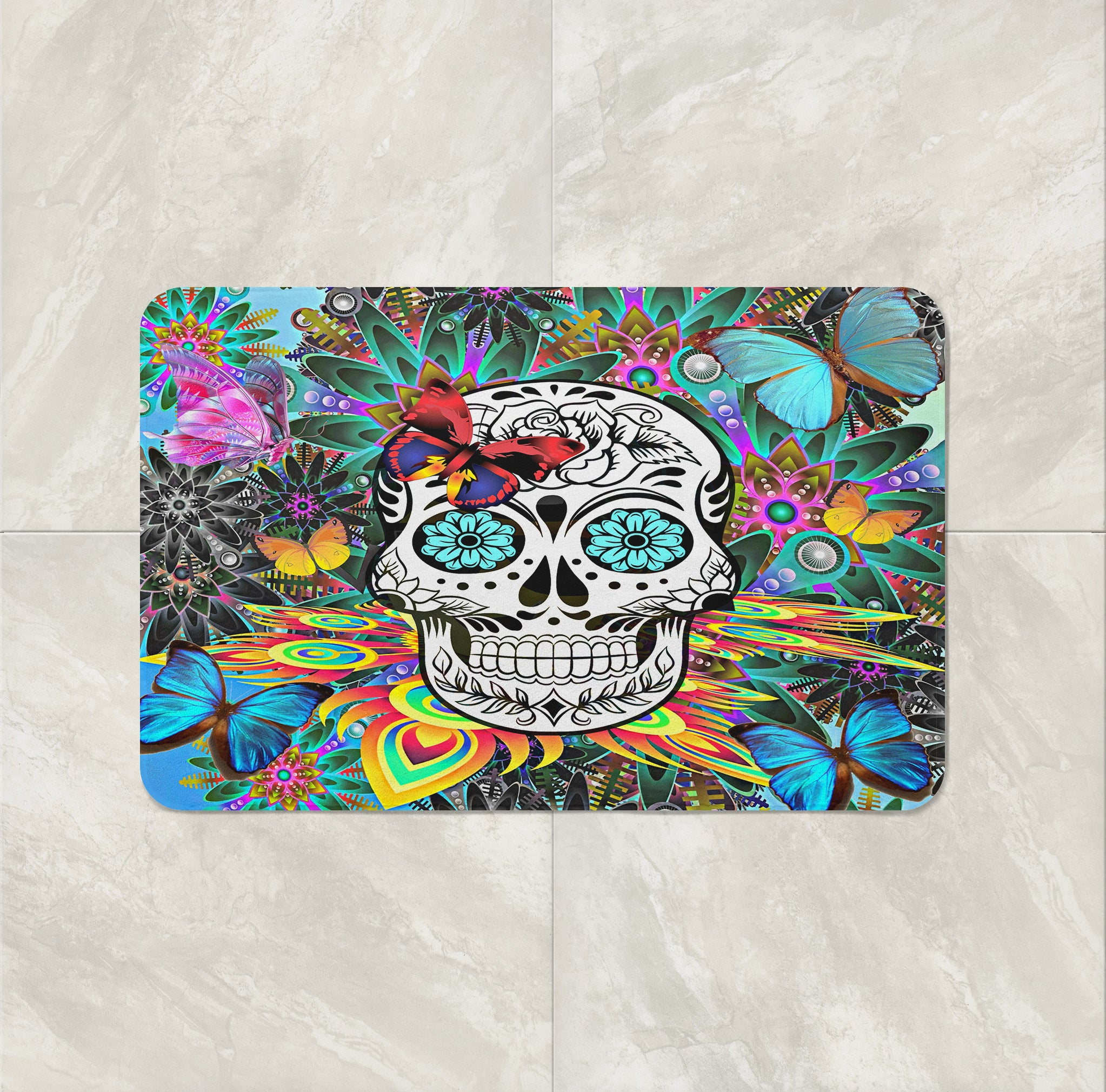 The Tropical Abstract Sugar Skull Bath Mat by Folk N Funky