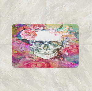 The Pink Abstract Floral Rose Calavera Gothic Skull Bath Mat