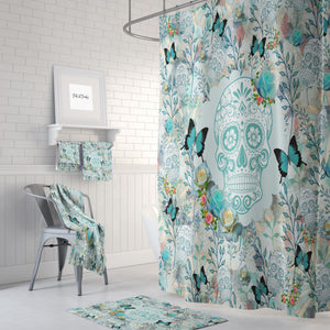 Turquoise Bloom Sugar Skull Shower Curtain, Bath Mat, Bath & Hand Towels