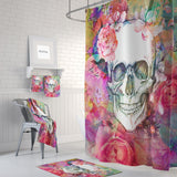 The Pink Abstract Floral Rose Calavera Gothic Skull Shower Curtain