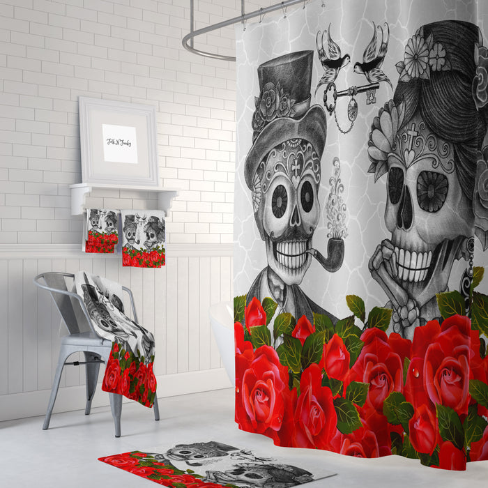 Skull Couple Shower Curtain
