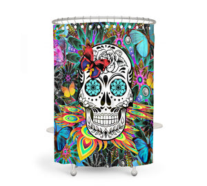 The Tropical Abstract Sugar Skull shower curtain by Folk N Funky