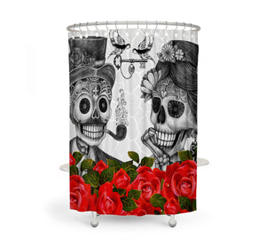 The Small Talk Forevermore Skull shower curtain by Folk N Funky
