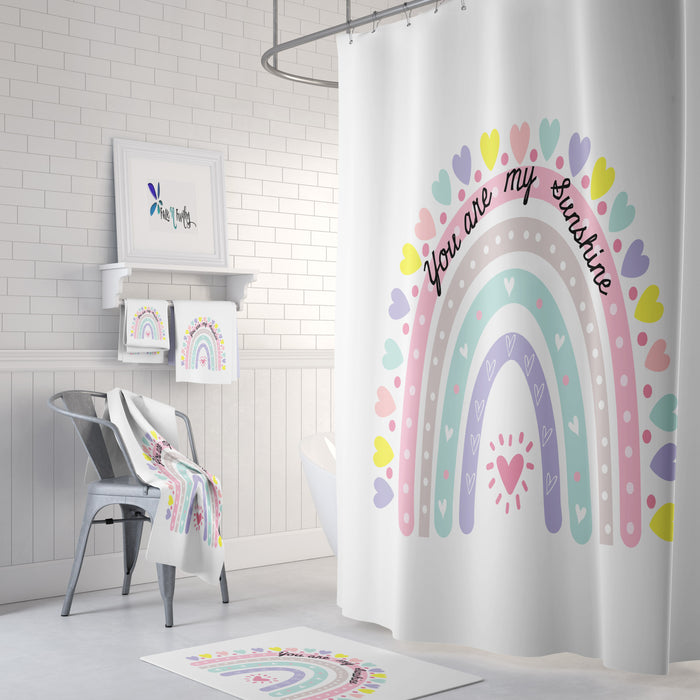 Rainbow and Hearts Shower Curtain Optional Bath Towel Bath Mat You are My Sunshine