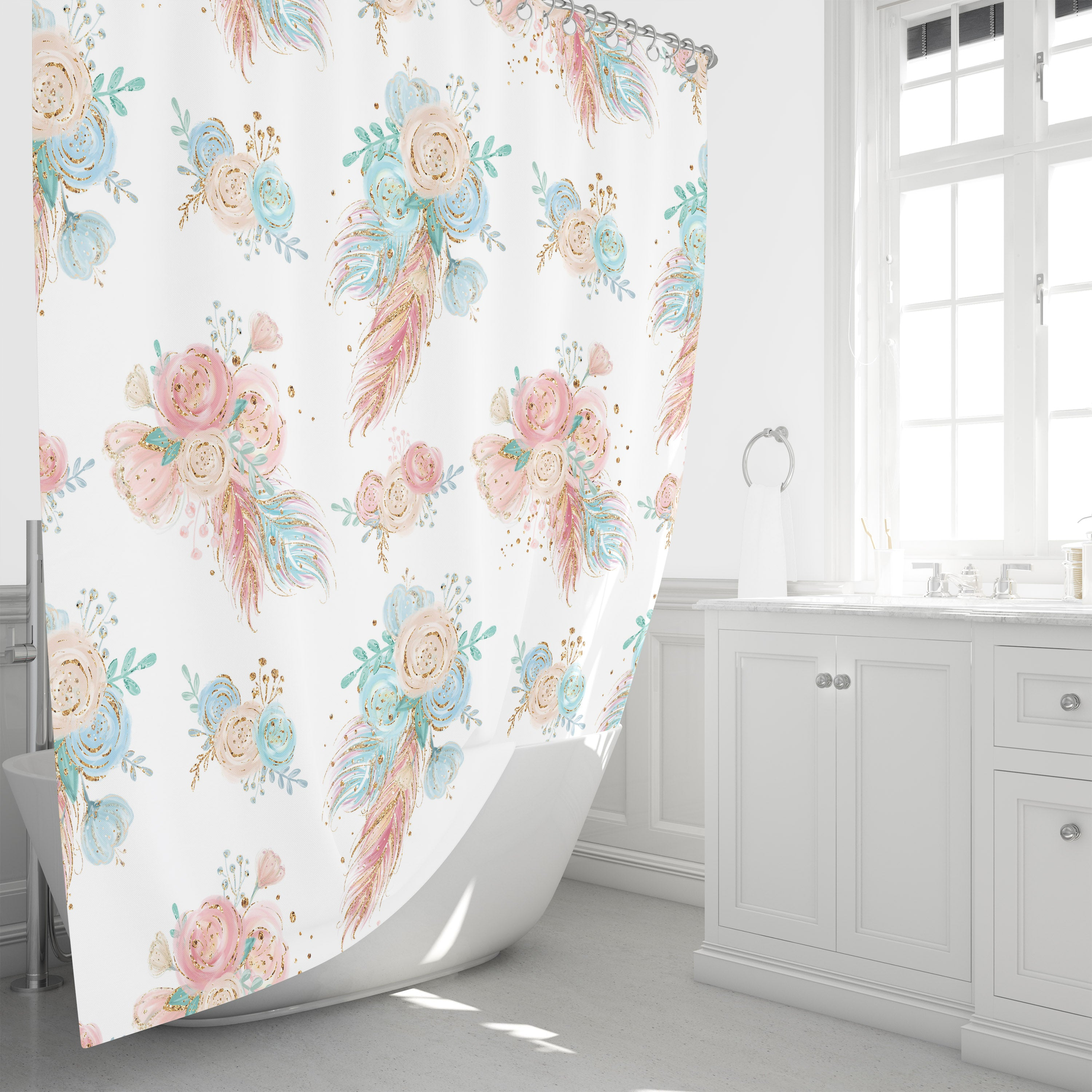 Sweet Boho Floral Shower Curtain