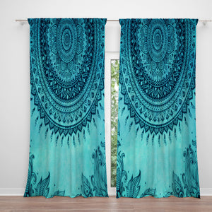 Turquoise Boho Mandala Window Curtains
