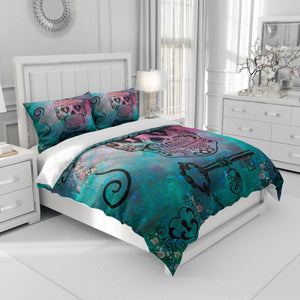 Teal and Pink Sugar Skull Bedding