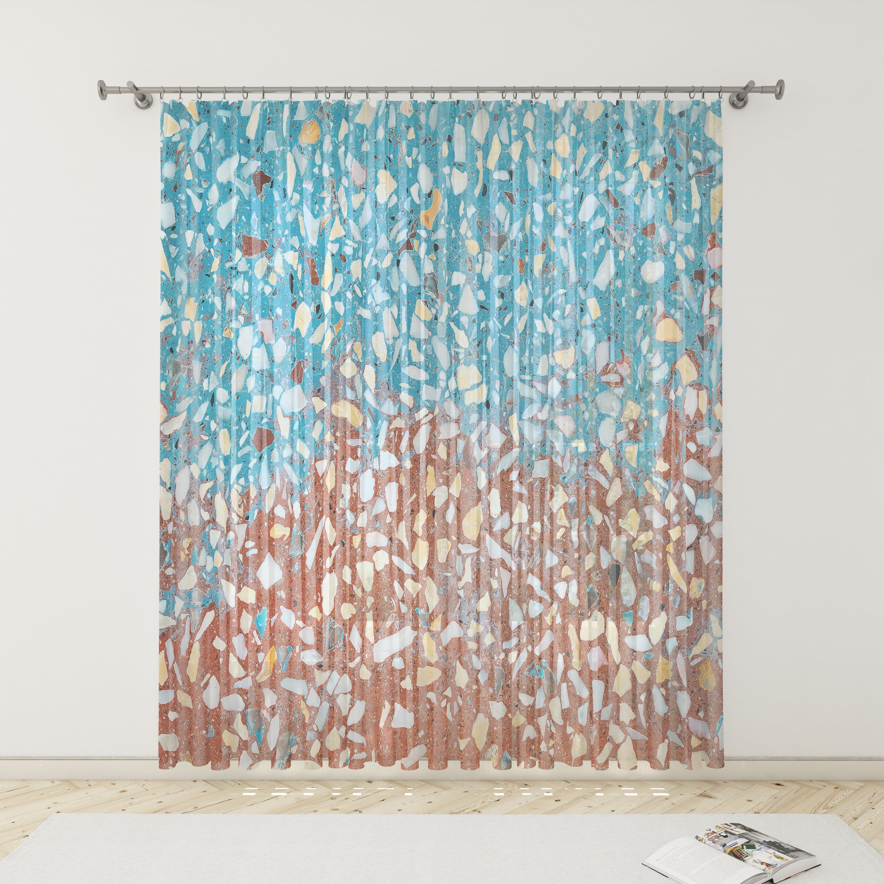 Retro Turquoise Terrazzo Pattern Sheer and Blackout Window Curtains