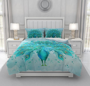 Watercolor Peacock Comforter, Or Duvet Cover ,Pillow Shams