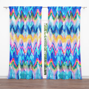 Faux Tie-Dye Window Curtains, Colorful Boho Drapes