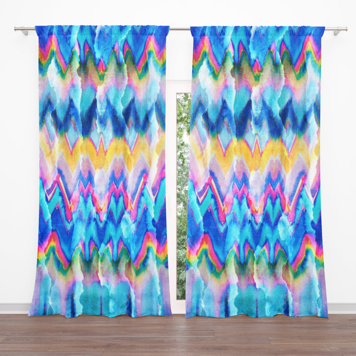 Faux Tie-Dye Sheer and Blackout Window Curtains