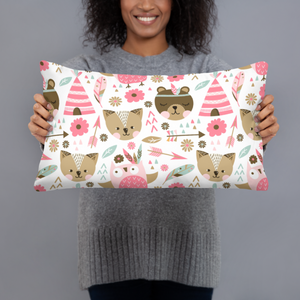 Pink Boho Woodland Animals Throw Pillow