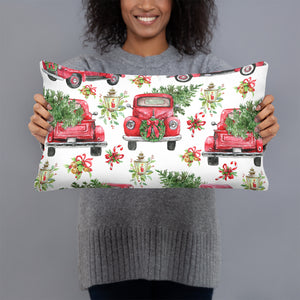 Christmas Throw Pillow, Red Truck with Christmas Trees