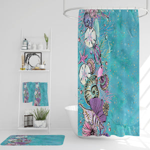 Turquoise Coastal Shower Curtain Optional Accessories