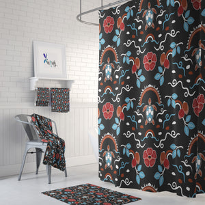 Boho Batik Turtle Shower Curtain and Bathroom Decor